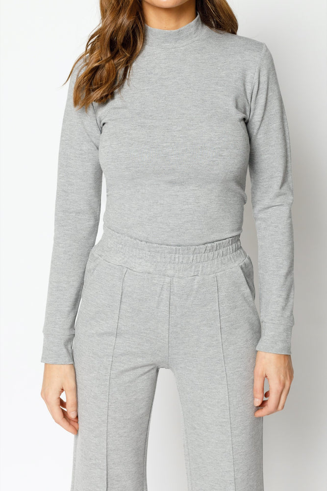 Women's Grey Belmont Skinny Fit Turtle Neck Top - P r é v u . S t u d i o .