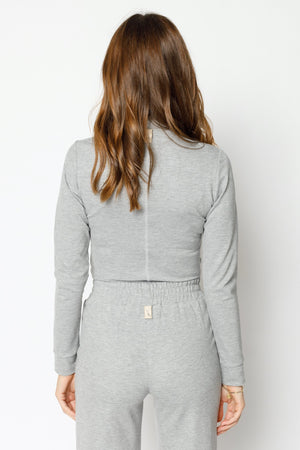 Load image into Gallery viewer, Women's Grey Belmont Skinny Fit Turtle Neck Top - P r é v u . S t u d i o .
