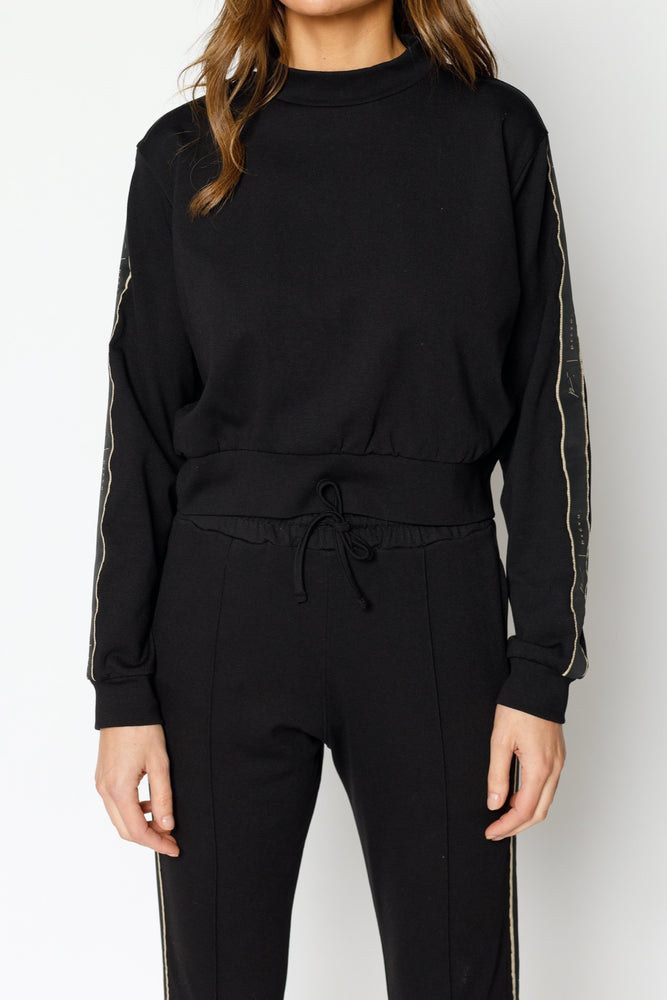 Women's Black Ripley Taped Regular Fit Sweatshirt - P r é v u . S t u d i o .