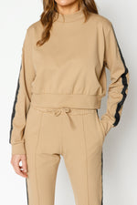 Women's Tan Ripley Taped Regular Fit Sweatshirt - P r é v u . S t u d i o .