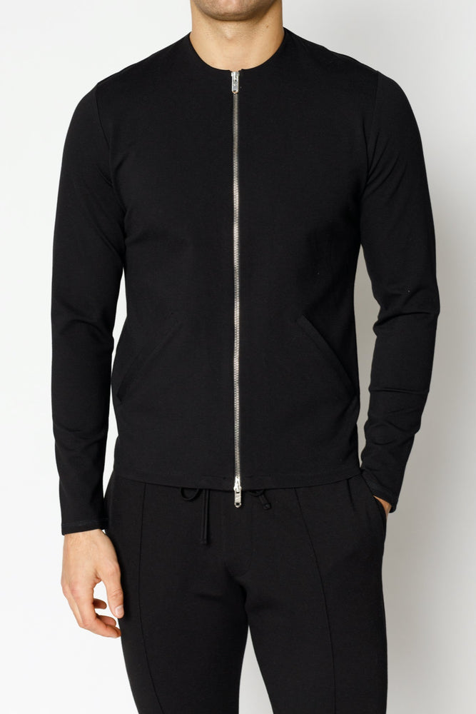 Black Belmont Zip Through Slim Fit Shirt - P r é v u . S t u d i o .