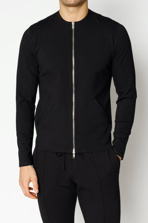 Load image into Gallery viewer, Black Belmont Zip Through Slim Fit Shirt - P r é v u . S t u d i o .