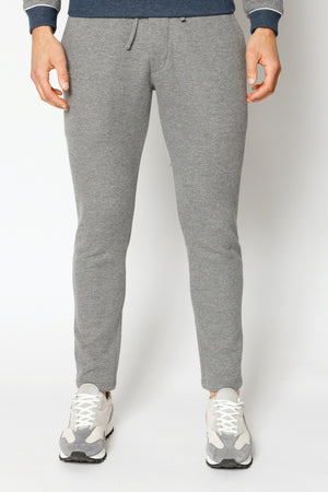 Load image into Gallery viewer, Grey Marl Double Logo Melange Slim Fit Joggers - P r é v u . S t u d i o .