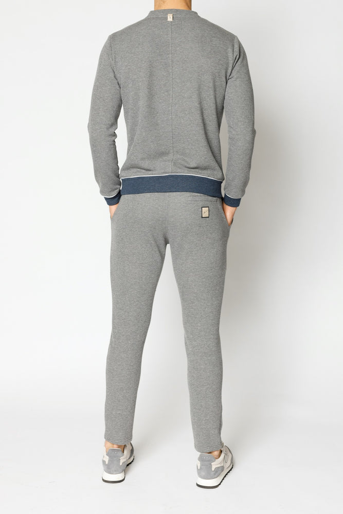 Load image into Gallery viewer, Grey Marl Double Logo Melange Slim Fit Sweatshirt - P r é v u . S t u d i o .