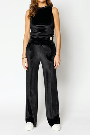 Load image into Gallery viewer, Women's Black Velour Wide Leg Trousers - P r é v u . S t u d i o .