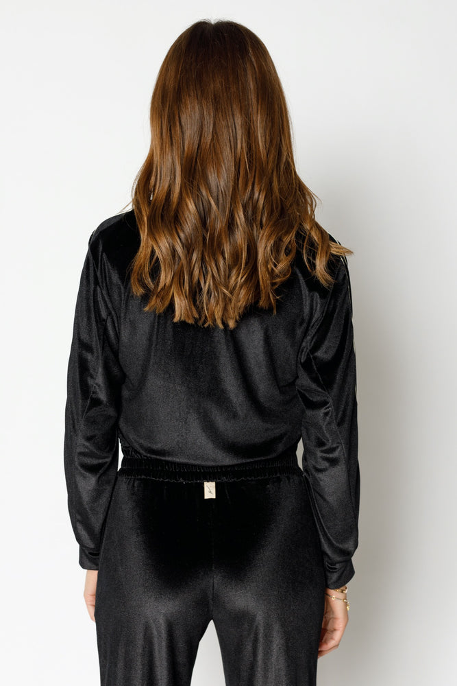 Load image into Gallery viewer, Women's Black Velour Piped Bomber Jacket - P r é v u . S t u d i o .