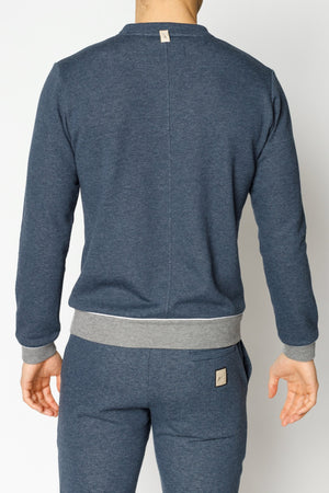 Load image into Gallery viewer, Blue Marl Double Logo Melange Slim Fit Sweatshirt - P r é v u . S t u d i o .