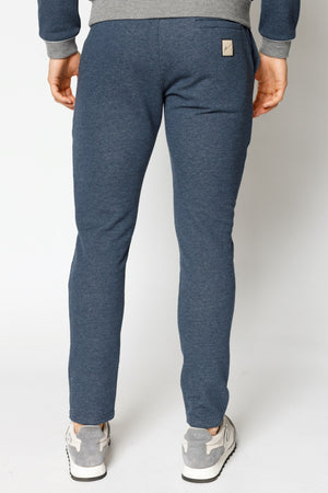 Load image into Gallery viewer, Blue Marl Double Logo Melange Slim Fit Joggers