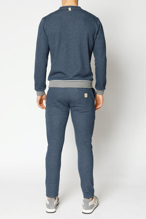 Load image into Gallery viewer, Blue Marl Double Logo Melange Slim Fit Joggers - P r é v u . S t u d i o .