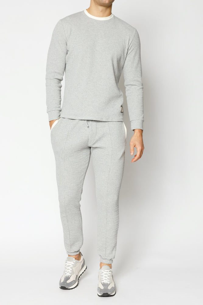 Grey Sandon Textured Slim Fit Joggers - P r é v u . S t u d i o .