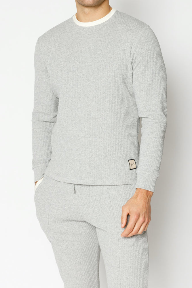 Grey Sandon Textured Slim Fit Long Sleeve T-shirt - P r é v u . S t u d i o .