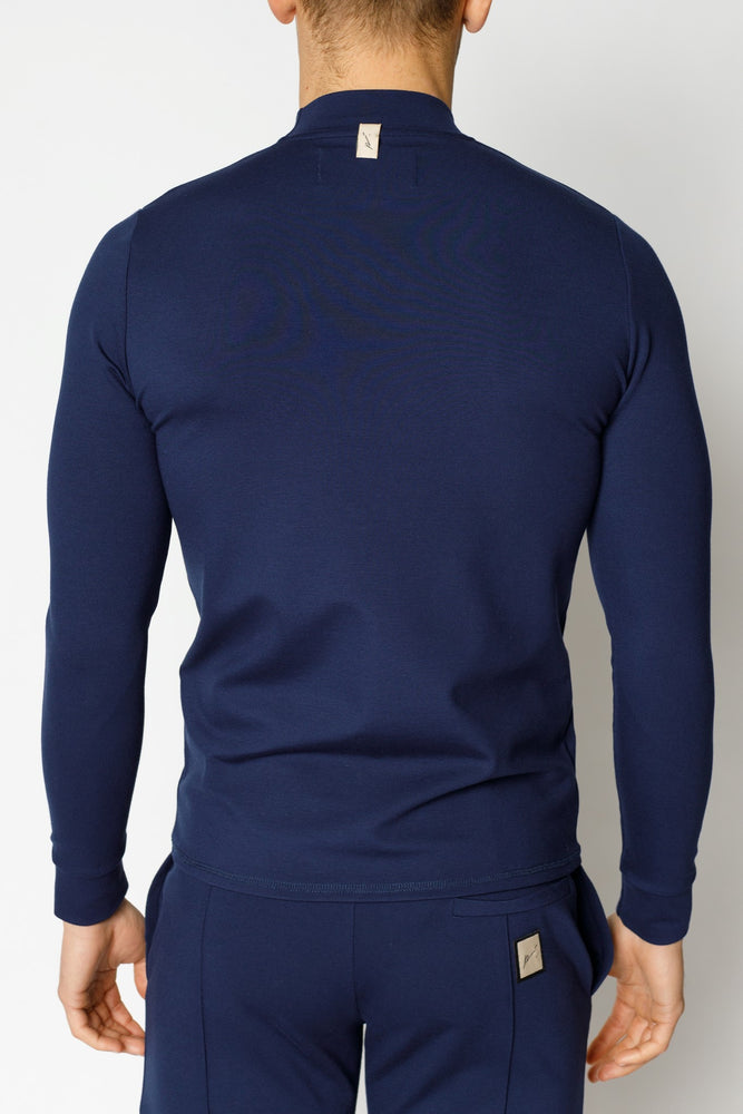 Navy Belmont Turtle Neck Long Sleeve Top - P r é v u . S t u d i o .