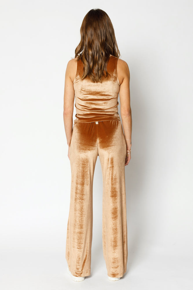 Load image into Gallery viewer, Women's Tan Velour Skinny Fit Vest - P r é v u . S t u d i o .