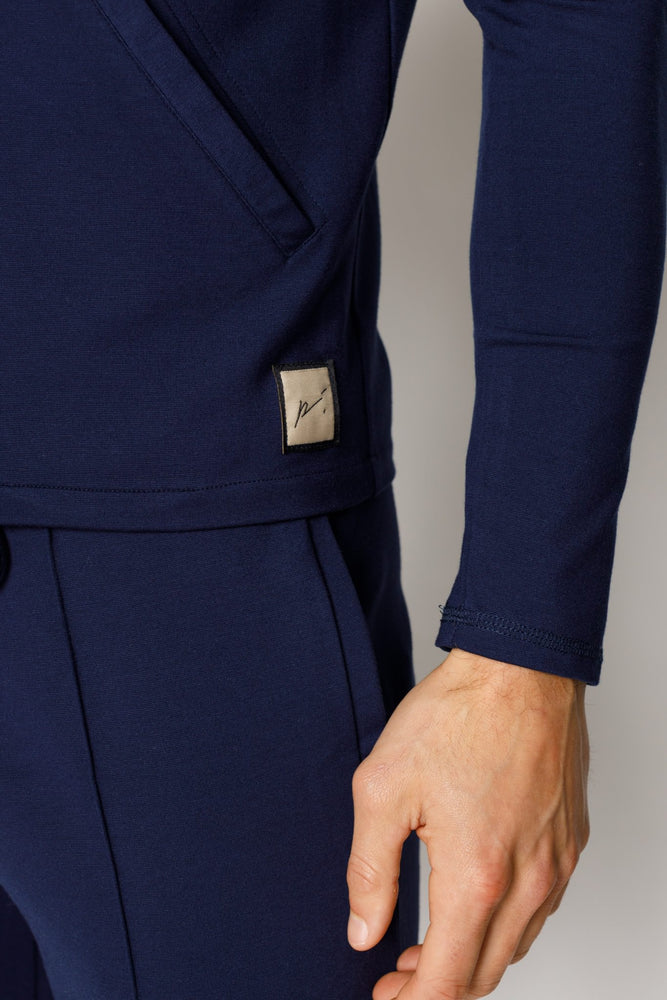 Load image into Gallery viewer, Navy Belmont Zip Through Slim Fit Shirt - P r é v u . S t u d i o .