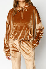 Women's Tan Velour Piped Regular Fit Hoodie - P r é v u . S t u d i o .