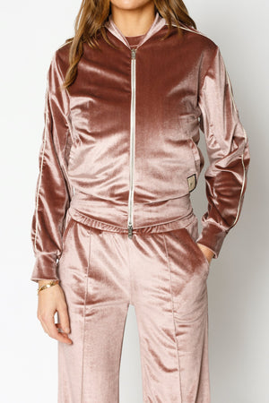 Load image into Gallery viewer, Women's Pink Velour Piped Bomber Jacket - P r é v u . S t u d i o .