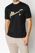 Black and Tan Signature Logo Print Slim Fit T-shirt - P r é v u . S t u d i o .