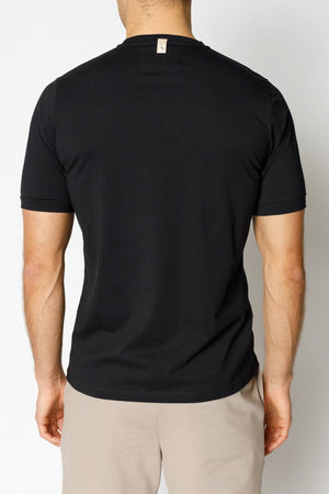 Load image into Gallery viewer, Black and Tan Signature Logo Print Slim Fit T-shirt - P r é v u . S t u d i o .
