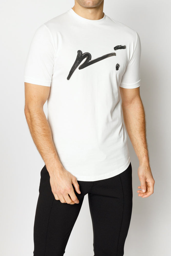 White and Black Signature Logo Print Slim Fit T-shirt - P r é v u . S t u d i o .