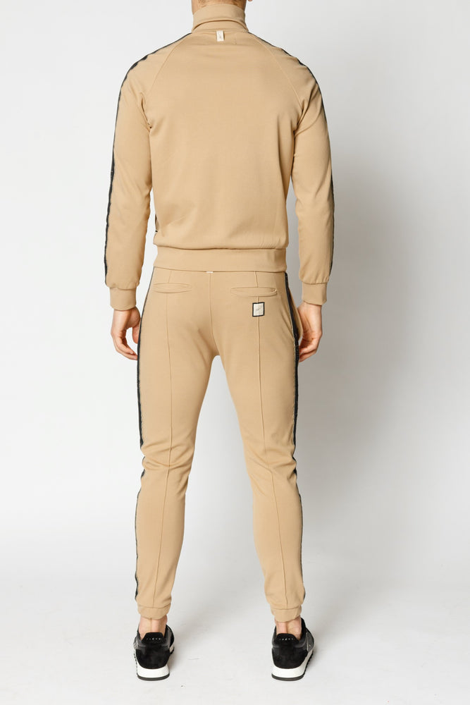 Tan Ripley Taped Slim Fit Joggers - P r é v u . S t u d i o .
