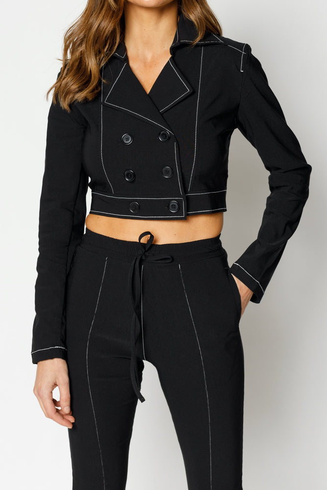 Women's Black Alento Cropped Blazer