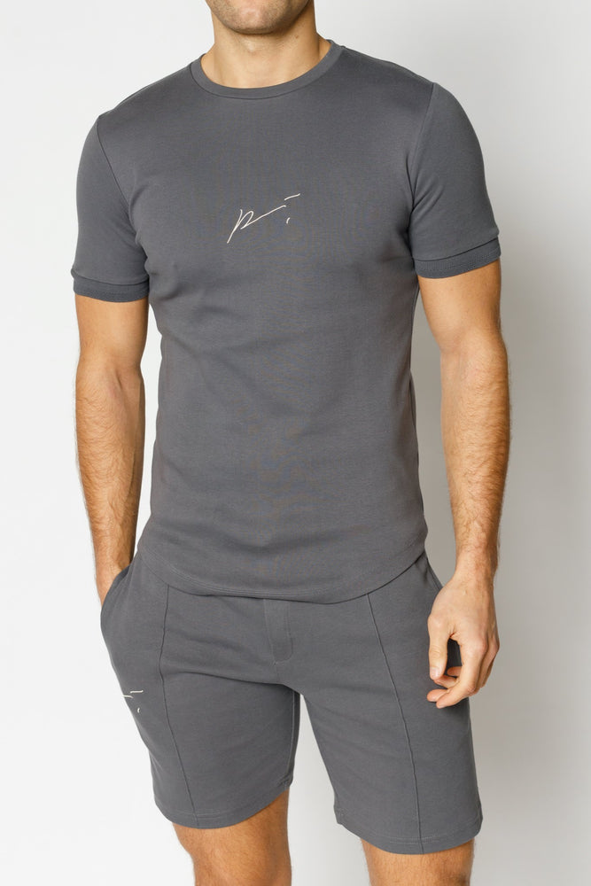 Grey Signature Logo Embroidered Slim Fit T-Shirt