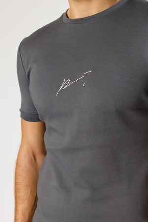 Load image into Gallery viewer, Grey Signature Logo Embroidered Slim Fit T-Shirt