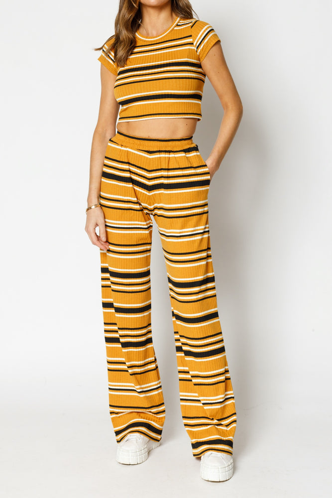 Women's Yellow Moreno Stripe Flared Trousers - P r é v u . S t u d i o .