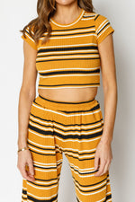 Women's Yellow Moreno Stripe Crop Top - P r é v u . S t u d i o .