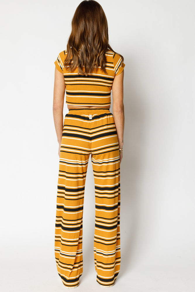 Load image into Gallery viewer, Women's Yellow Moreno Stripe Crop Top - P r é v u . S t u d i o .
