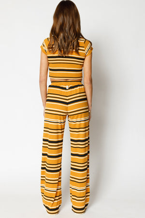 Load image into Gallery viewer, Women's Yellow Moreno Stripe Flared Trousers - P r é v u . S t u d i o .