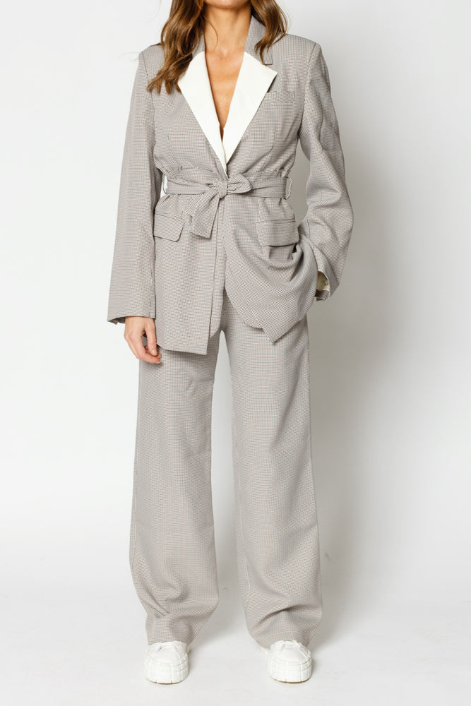 Women's Cream and Black Balotelli Puppytooth Trousers - P r é v u . S t u d i o .