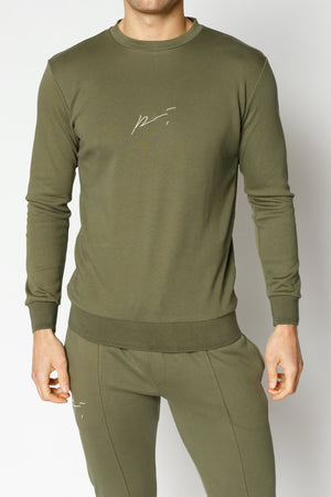 Load image into Gallery viewer, Khaki Signature Logo Embroidered Sweatshirt - P r é v u . S t u d i o .