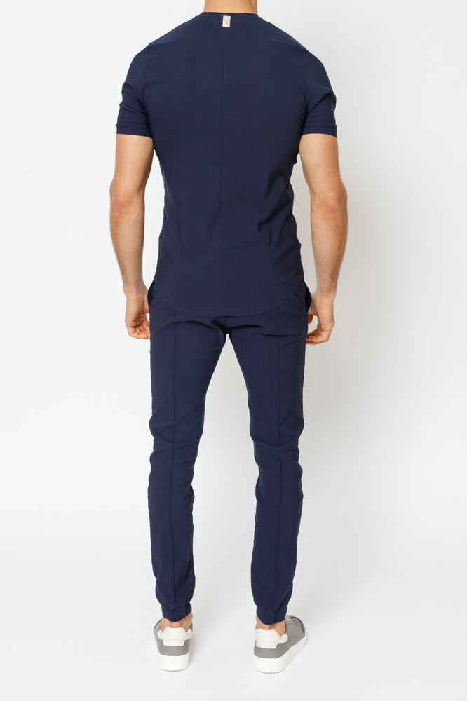 Navy Salvatore Slim Fit Trousers - P r é v u . S t u d i o .