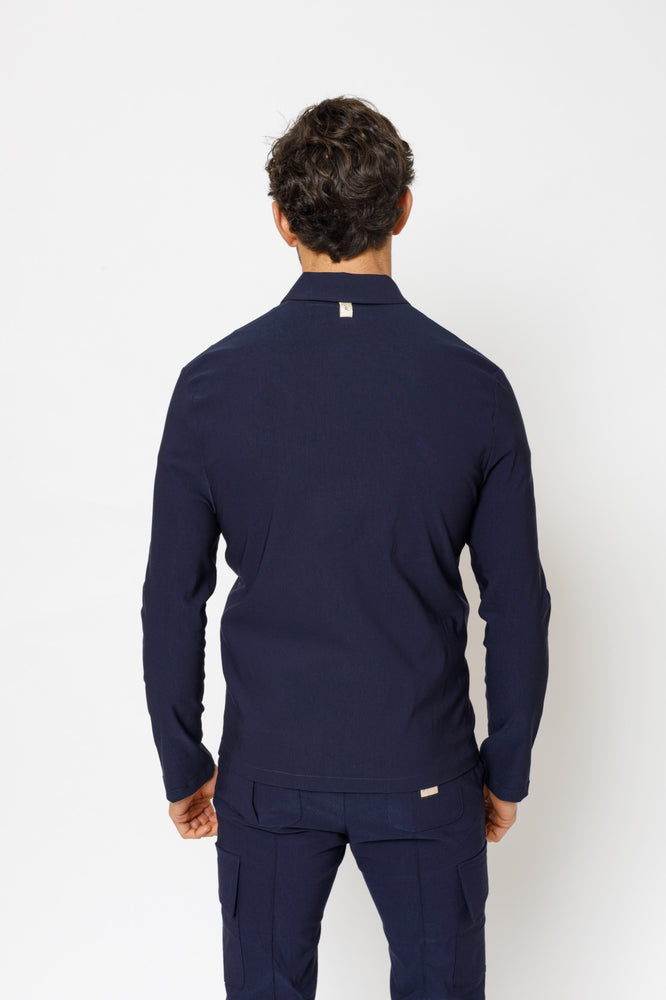 Navy Salvatore Slim Fit Shirt - P r é v u . S t u d i o .