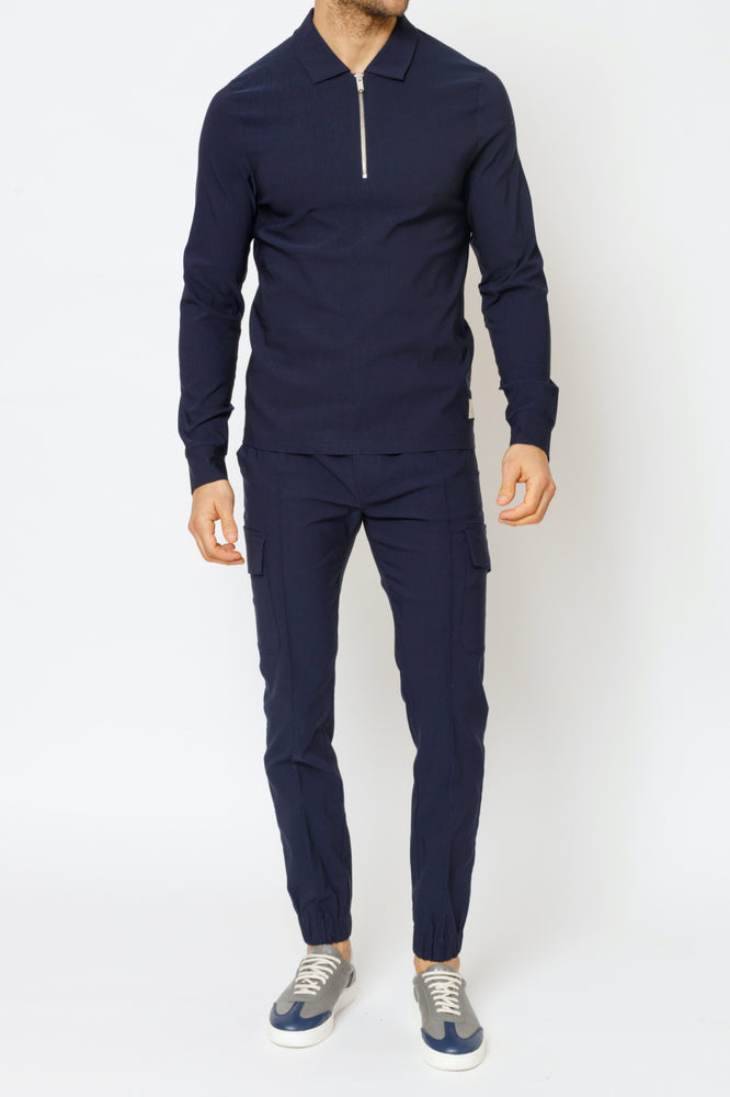 Navy Salvatore Regular Fit Cargo Trousers - P r é v u . S t u d i o .
