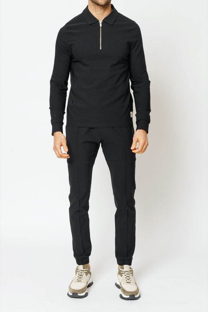 Load image into Gallery viewer, Black Salvatore Long Sleeve Slim Fit Polo - P r é v u . S t u d i o .