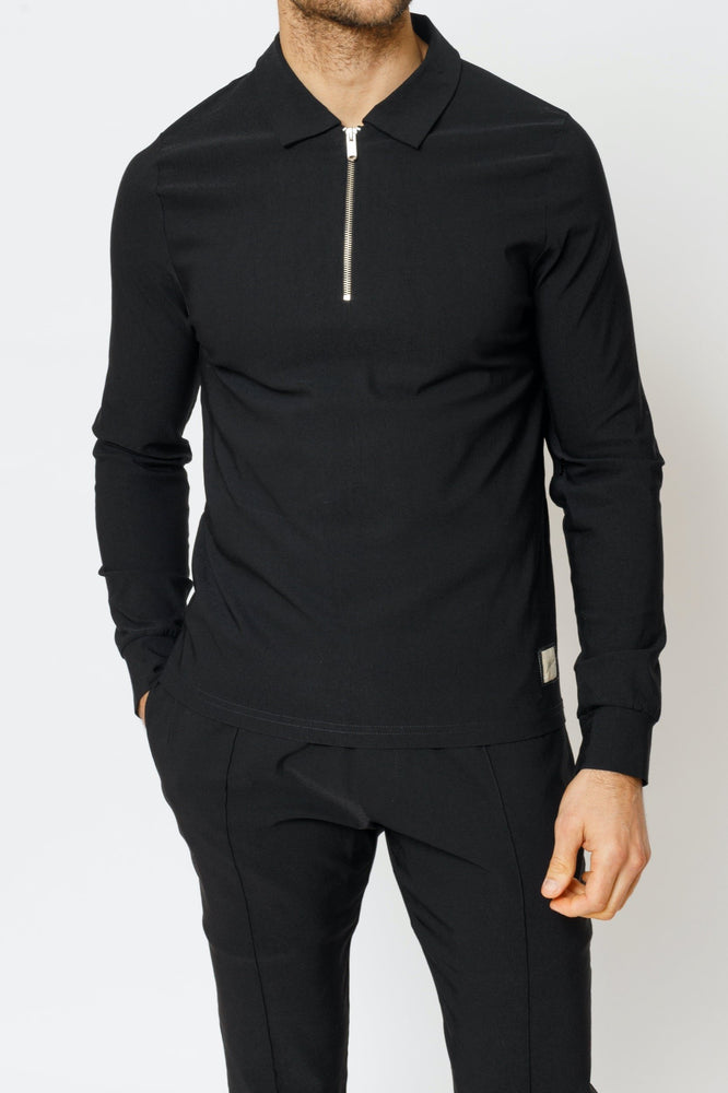 Black Salvatore Long Sleeve Slim Fit Polo - P r é v u . S t u d i o .