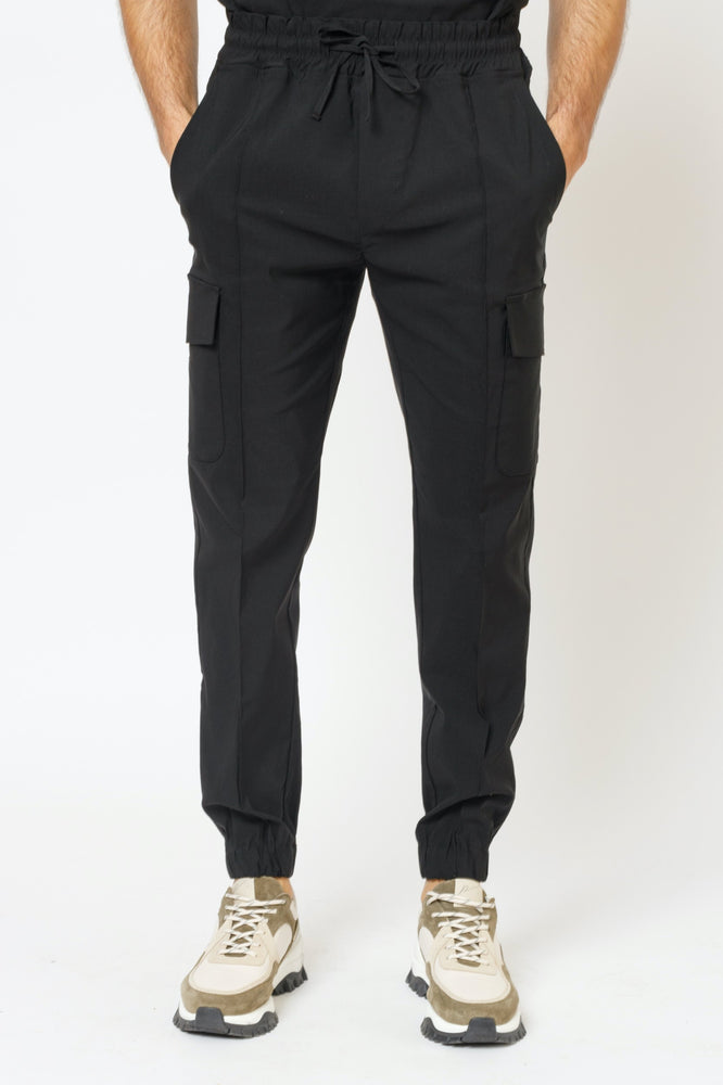 Black Salvatore Regular Fit Cargo Trousers - P r é v u . S t u d i o .