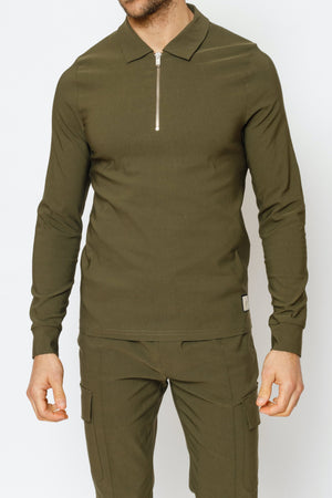 Load image into Gallery viewer, Khaki Salvatore Long Sleeve Slim Fit Polo - P r é v u . S t u d i o .