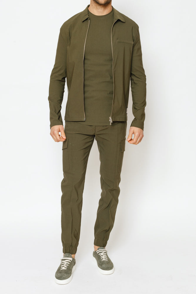 Khaki Salvatore Regular Fit Cargo Trousers - P r é v u . S t u d i o .