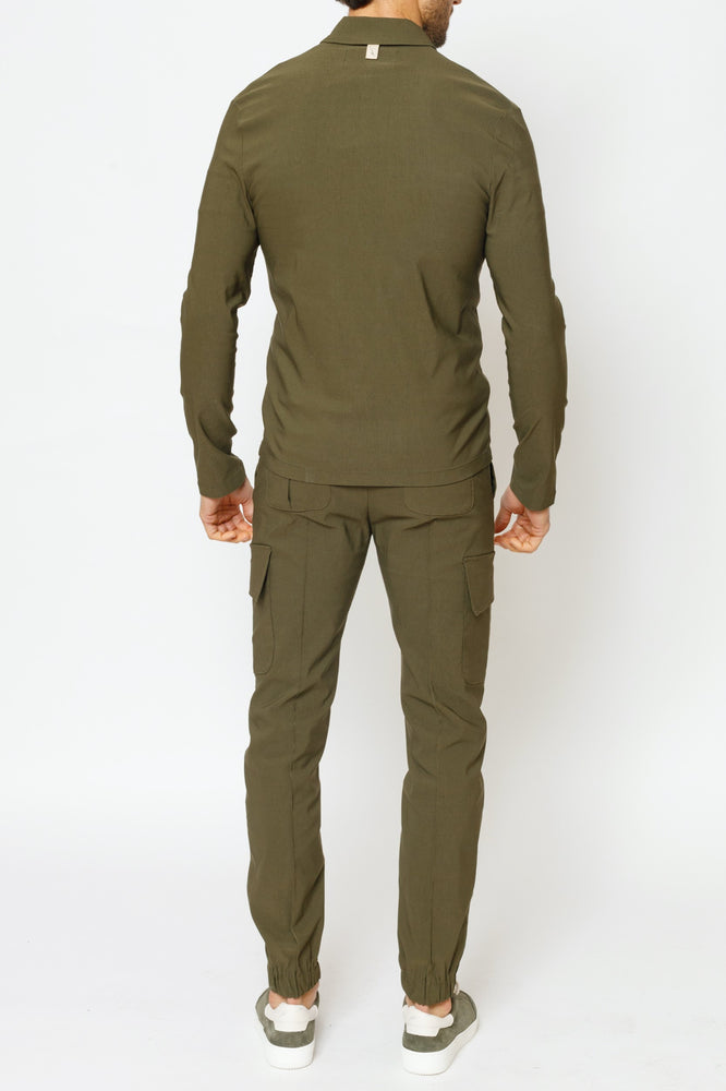 Load image into Gallery viewer, Khaki Salvatore Regular Fit Cargo Trousers - P r é v u . S t u d i o .
