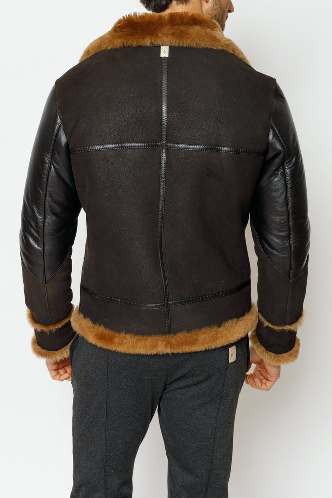 Brown Duke Shearling Leather Aviator Jacket - P r é v u . S t u d i o .