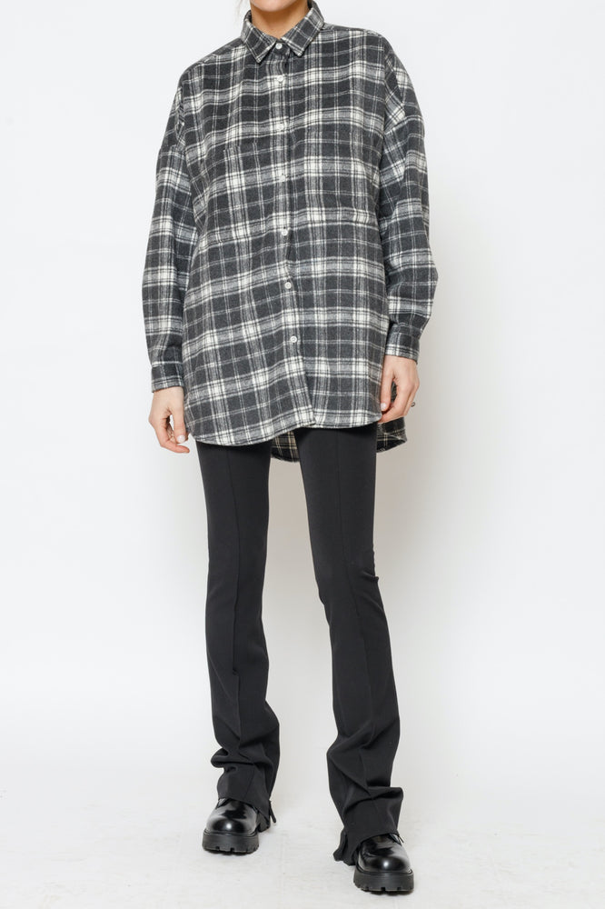 Women's Dark Grey Vinita Check Flannel Oversized Shirts - P r é v u . S t u d i o .