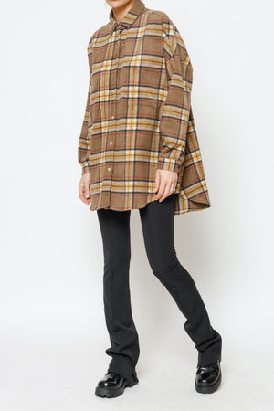 Load image into Gallery viewer, Women's Brown Vinita Check Flannel Overshirt - P r é v u . S t u d i o .