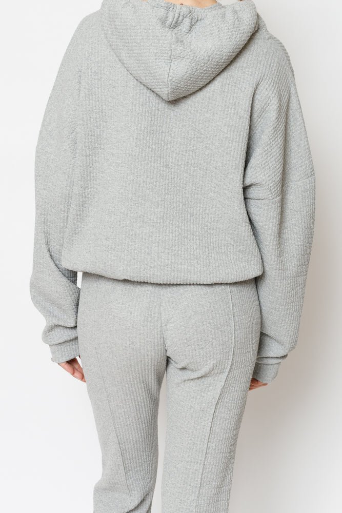 Women's Grey Sandon Textured Regular Fit Hoodie - P r é v u . S t u d i o .
