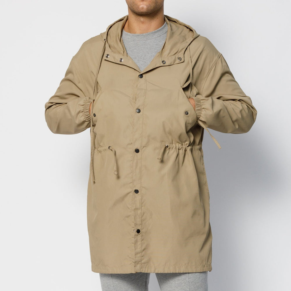 Load image into Gallery viewer, Tan Ravenscroft Logo Hooded Parka Jacket - P r é v u . S t u d i o .