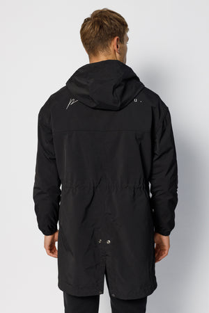 Load image into Gallery viewer, Black Ravenscroft Logo Hooded Parka Jacket - P r é v u . S t u d i o .