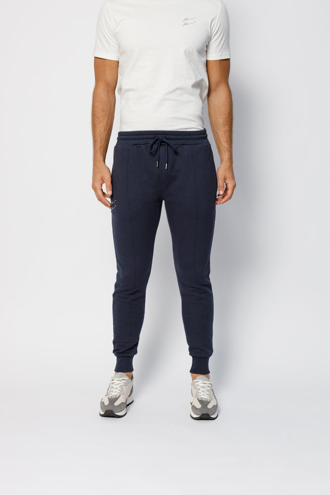 Load image into Gallery viewer, Navy Double Logo Slim Fit Joggers - P r é v u . S t u d i o .