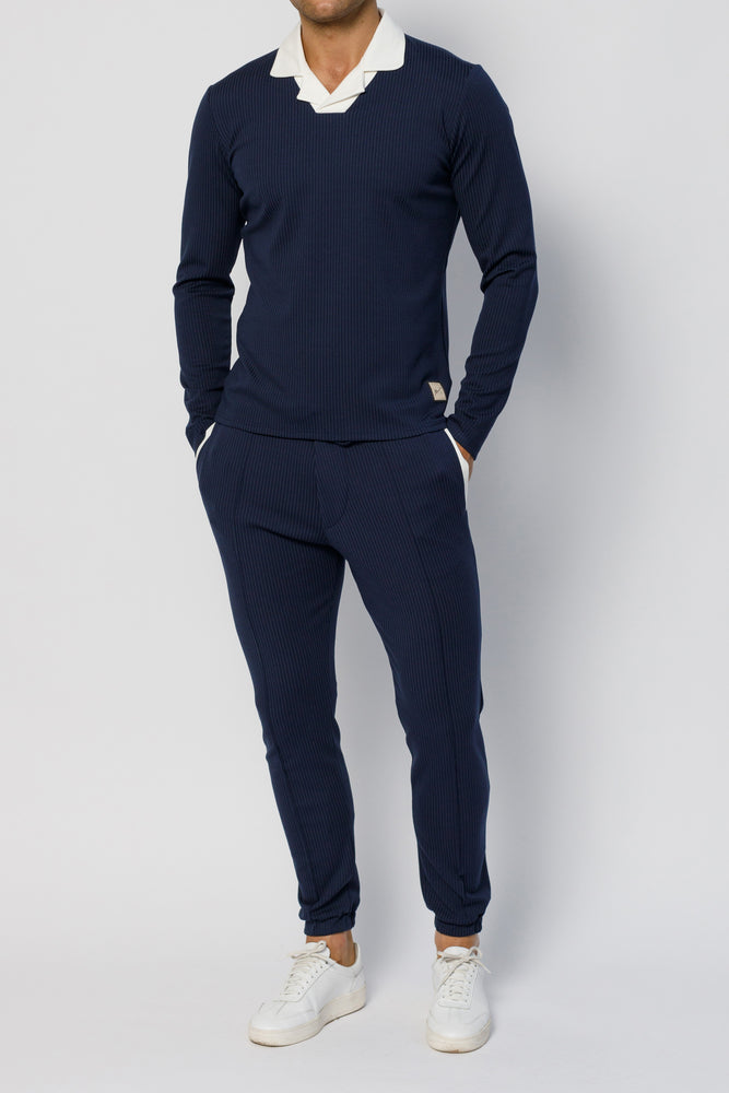 Navy Archer Pinstripe Slim Fit Trouser